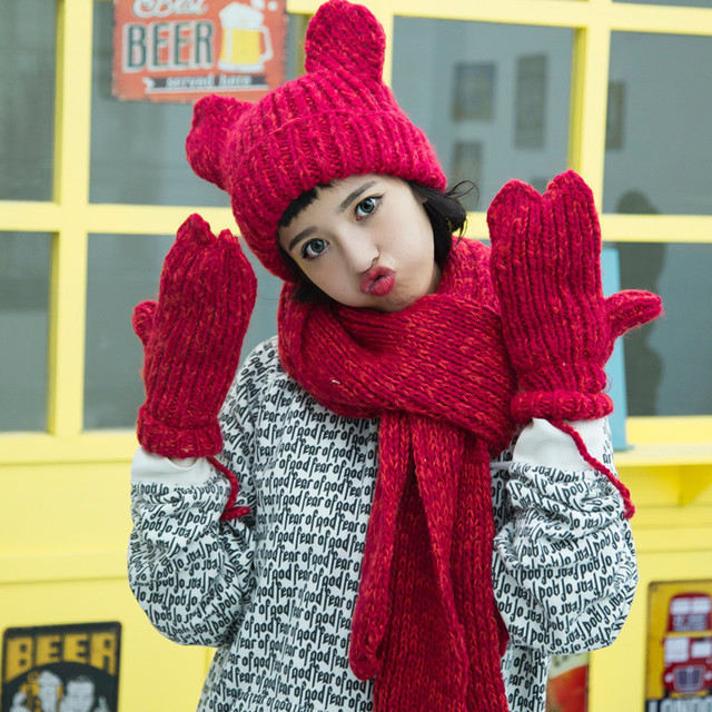 Handmade Womens Hooded Gloves Scarf Set Hats With Men Hat Pure Wool Double  Layer Thicker Warm fccb5176836