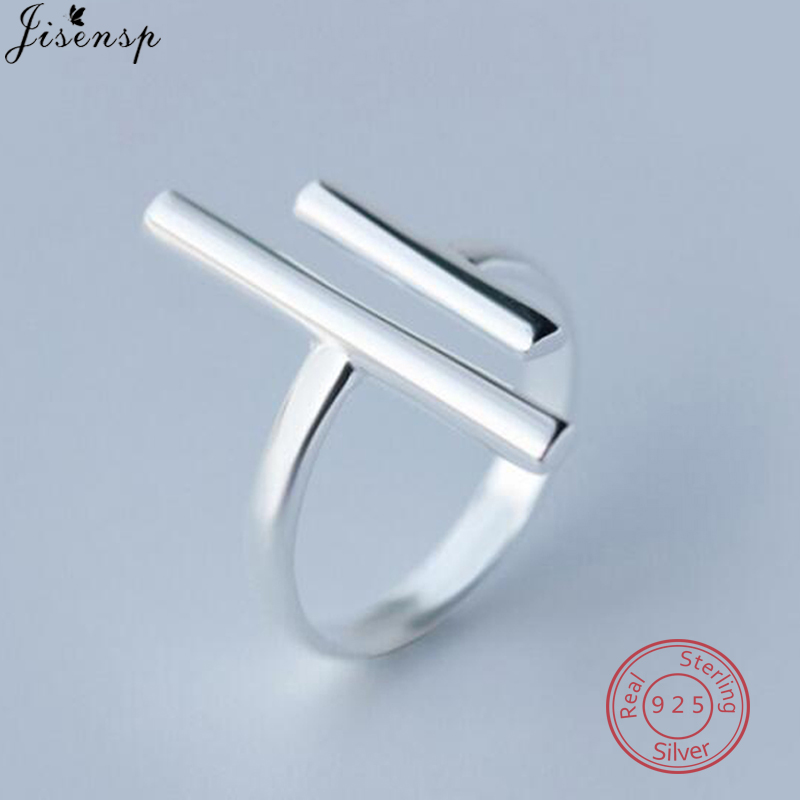 Jisensp 925 Sterling Silver Long Bar Open Finger Rings For Women Party Christmas Gifts Double T Bar Punk Ring Geometric Jewelry
