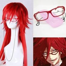 100CM długi jasny czerwony Grell Sutcliff żaroodporne włosy Kuroshitsuji Kuroshitsuji przebranie na karnawał peruka + czaszka łańcuch okulary