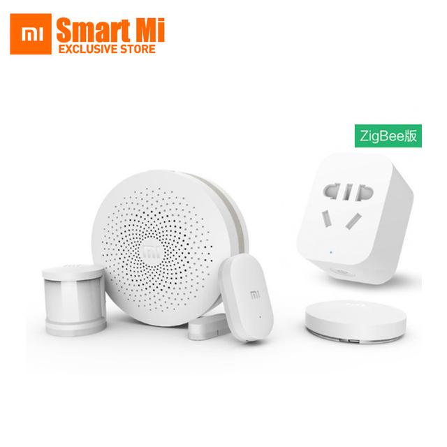 Xiaomi smart home kit presente automático sistema de segurança porta de entrada 2 interruptor sensor de corpo plug zigbee sem fio e sensor de janela da porta