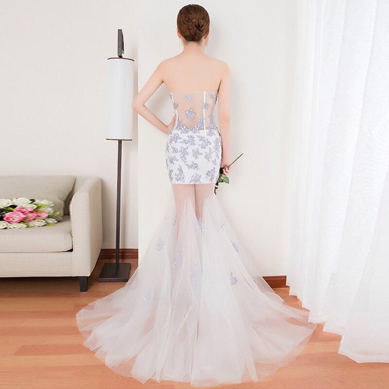 A68 White Nouvelles Longue Parti Proms Robe Pour Date Soirées Gratuating Cérémonie Up Robes Élégant 2018 De Diamants Gala Mesh Bretelles Femmes BqIxHR