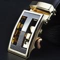 2016 new men's genuine leather belt gold buckle belts men