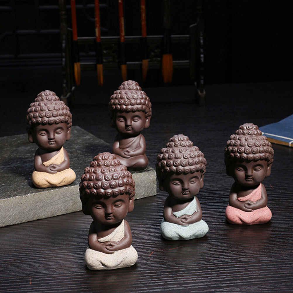 Mini Zakka dekoratif seramik süsler buda heykeli keşiş heykelcik tathagata hindistan Yoga Mandala çay pet mor seramik el sanatları