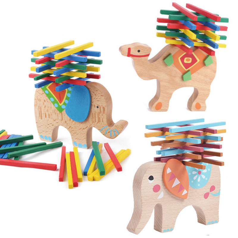 Baby Wooden Toys Montessori Building Blocks Balance Game Blue Elephant Stacked Blocks For Children Wooden Blocks Toys boys