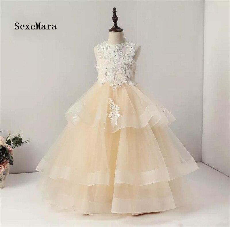 Rea картину шампанское Высокое качество платья для девочек Многоуровневое из органзы для девочек на день рождения праздничное платье рождес