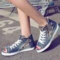 2016 Новые Ботинки Женщин Лето Отверстие Обувь Моде Джинсовые Холст Обувь