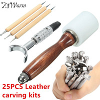 Kiwarm 25pcs Leather DIY Carved Wooden Hammer Stainless Steel Stamps Tool Sewing Handmade Kit Set Leathercraft Tools