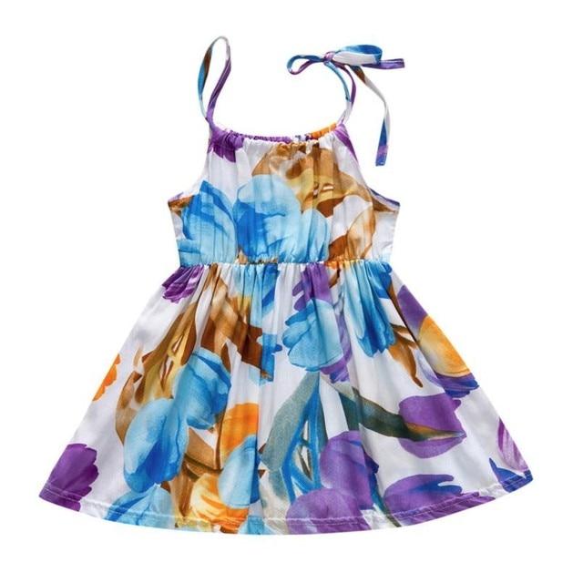צבעוני פרח ילדים בייבי בנות ללא שרוולים פרח הדפסת קלע שמלת תלבושות בגדי רצועת Ruched שמלה קיצית שמלת 9 m-24 m