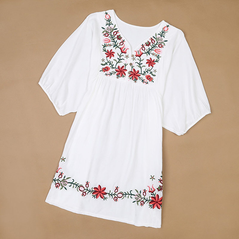 2018 New Summer Vintage Female Ethnic Mexican Floral Loose   Shirt   Tops Hippie Boho Cotton Long Woman Embroidery   Blouse     Shirt