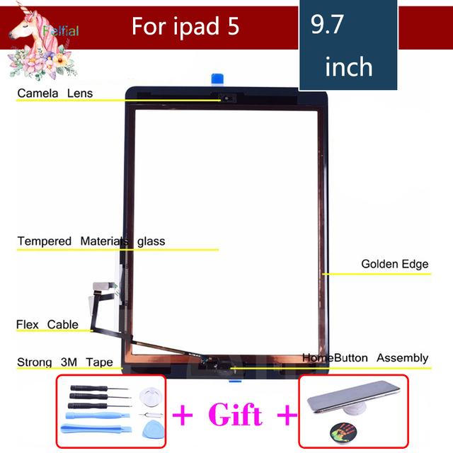 US $13 77 5% OFF|Aliexpress com : Buy Original For Apple iPad 2 3 4 5 6  ipad Air 1 2 Touch Screen with Home Button and Adhesive Digitizer Front  Glass
