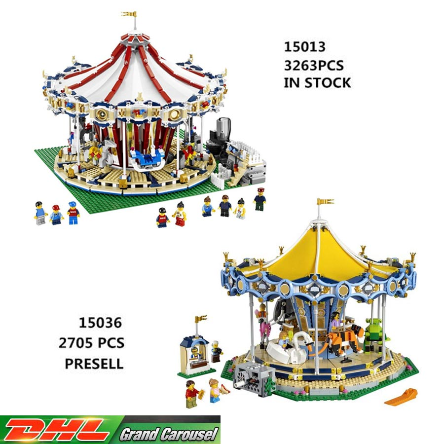 LEPIN 15013 3263PCS LEPIN 15036 2705 PCS PRESELL City Street Carousel Model Building Kits Blocks Toy 10196 10257  Christmas Gift lepin 15013 city sreet carousel model building kits blocks toy compatible 10196 with funny children educational lovely gift toys