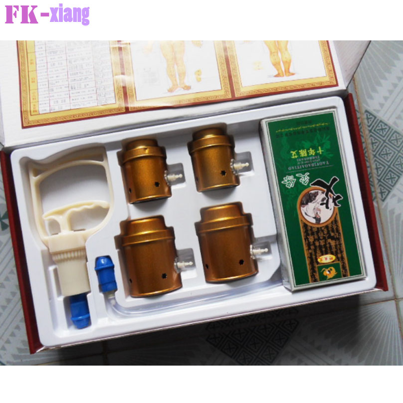 NEW! 4pcs Pure Copper Big Size Vacuum Cupping.Body Magnetotherapy Traditional Moxibustion Health Massage Care. + Moxa sticks wholesale and retail big size high quality pure copper health beauty moxa box
