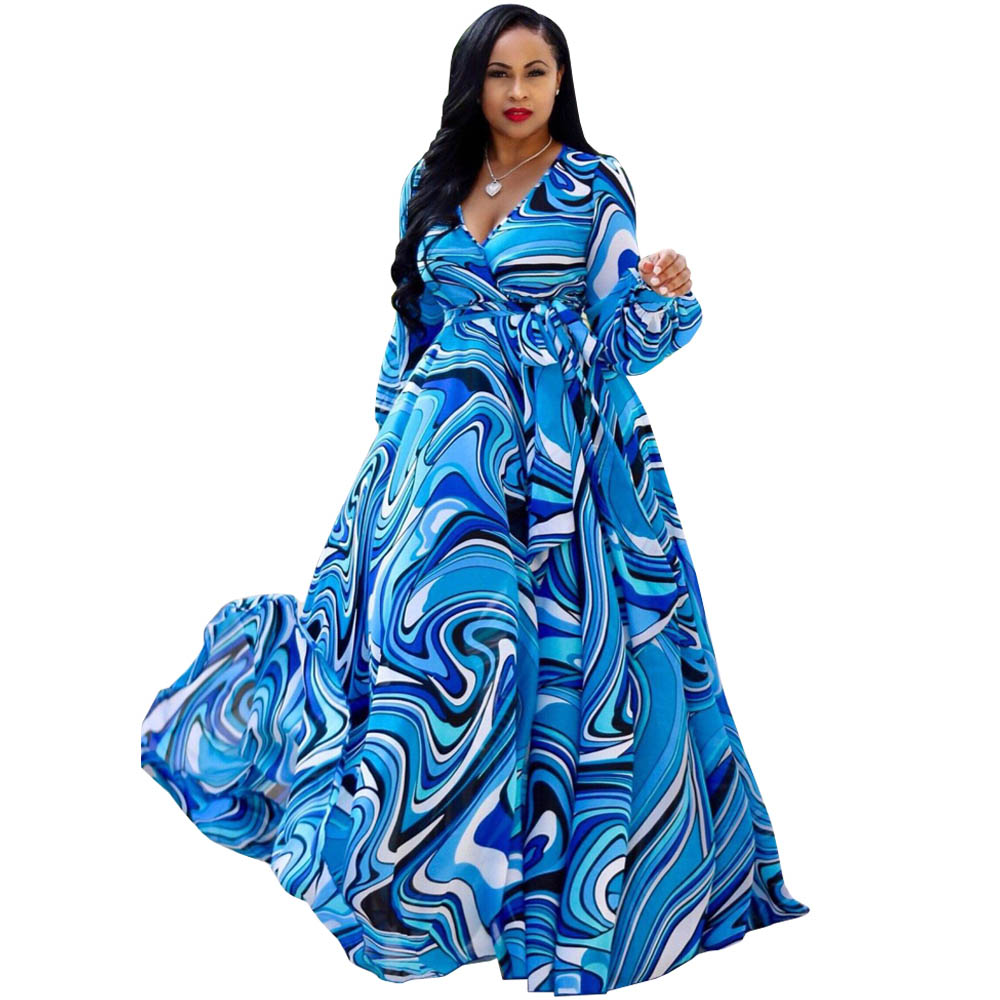 Summer Bohemian Beach Maxi Dress Women Full Sleeve V Neck Printed Chiffon Long Dresses Belted Vintage Loose Evening Party Dress