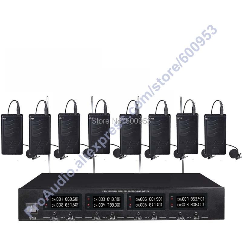 MICWL 2038V High-End 8 Lapel Lavalier Mics UHF LED Digital Radio Cordless Wireless Karaoke Microphones System