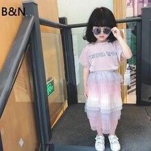 B&N Fashion Kids Summer Autumn Tutu Skirt Soft Tulle Girls Ball Gown Children Cake Skirt Princess Birthday Holiday Girl Skirts недорого