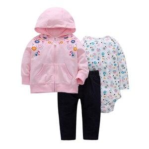 Image 3 - 服女の赤ちゃんフード付きジャケット + ロンパース + パンツ新生児服衣装のスーツトラックスーツ 2019 ユニセックス新生児衣装綿