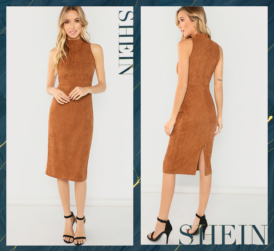 SHEIN Brown Office Lady Elegant Sleeveless Solid Stand Collar ... fba902f45e48