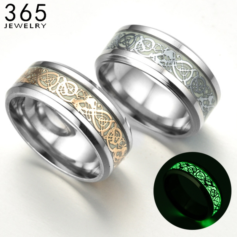 1 Pcs Stainless Steel Luminous Dragon Rings Unisex Accessories Fluorescent Glowing Rings For Men Women Gift