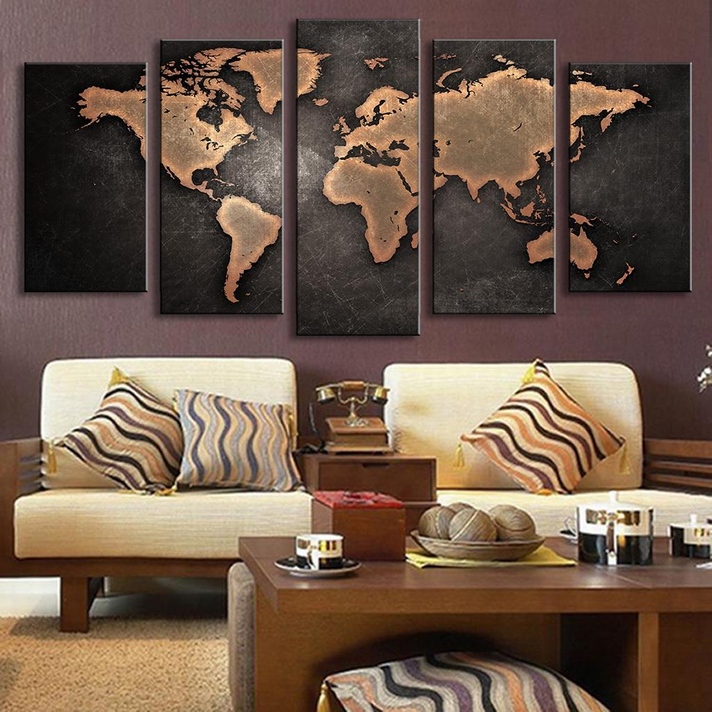 5 Pieces Modular Pictures for Home Abstract Wall Art Painting World Map Canvas Painting for Living Room Home Decor Picture