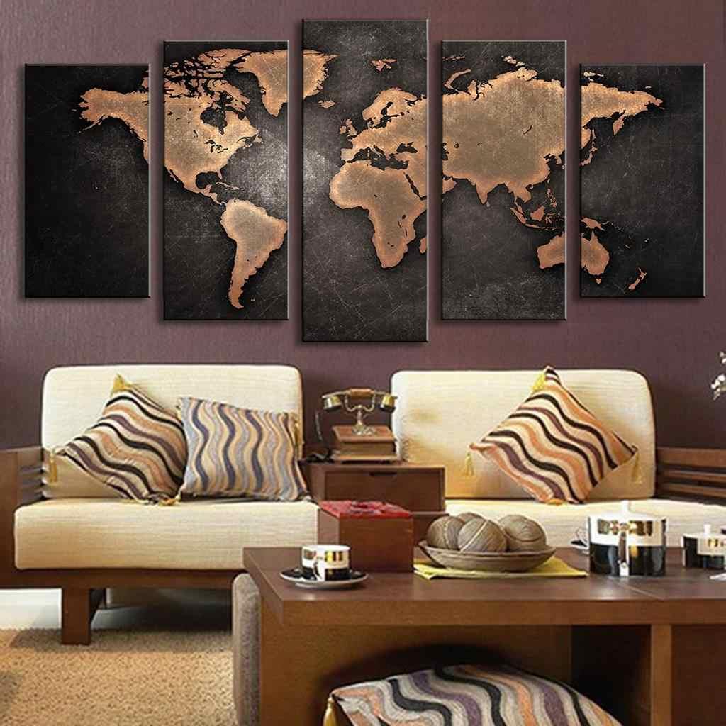 5 шт. модульные картины для дома абстрактные настенные художественные картины карта мира холст живопись для гостиной домашний Декор картина