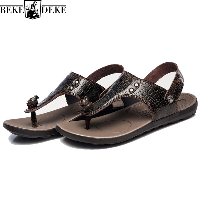 Fashion Natural Leather Sandals Men 2018 Summer Breathable Casual Male Beach Shoes Two Wear Walking Flip Flop Slides Plus Size