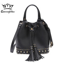 2017 tide summer new rivets bucket bag women fashion belt with fringed handbag casual shoulder Messenger bag