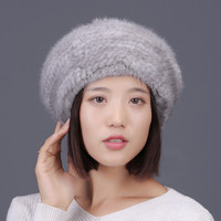 Natural mink fur berets for women winter fall warm knitted fur caps gray beige red colors big fur pom pom baggy fur hats H126
