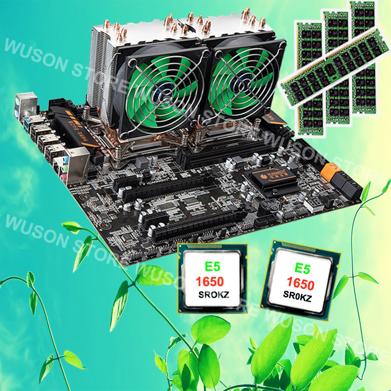 HUANAN ZHI X79 dual CPU motherboard with PCI-E slots RAM 4*8G DDR3 1600 RECC CPU dual Intel Xeon E5 1650 C2 3.2GHz with coolers brand new promotional huanan zhi deluxe x79 motherboard cpu intel xeon e5 2620 srokw ram 32g 4 8g ddr3 1600 recc all tested