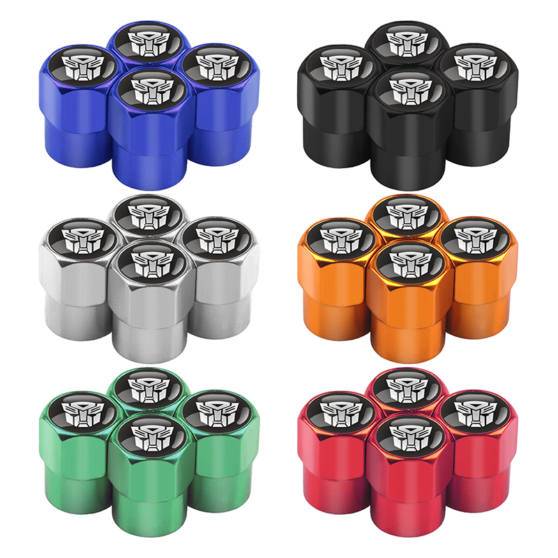 Image 2 - 4Pcs/Set Car Accessories Tire Valve Caps Transformers Emblem Logo Car Styling Tyre Stems Air Caps Auto Wheel Car Styling-in Nuts & Bolts from Automobiles & Motorcycles
