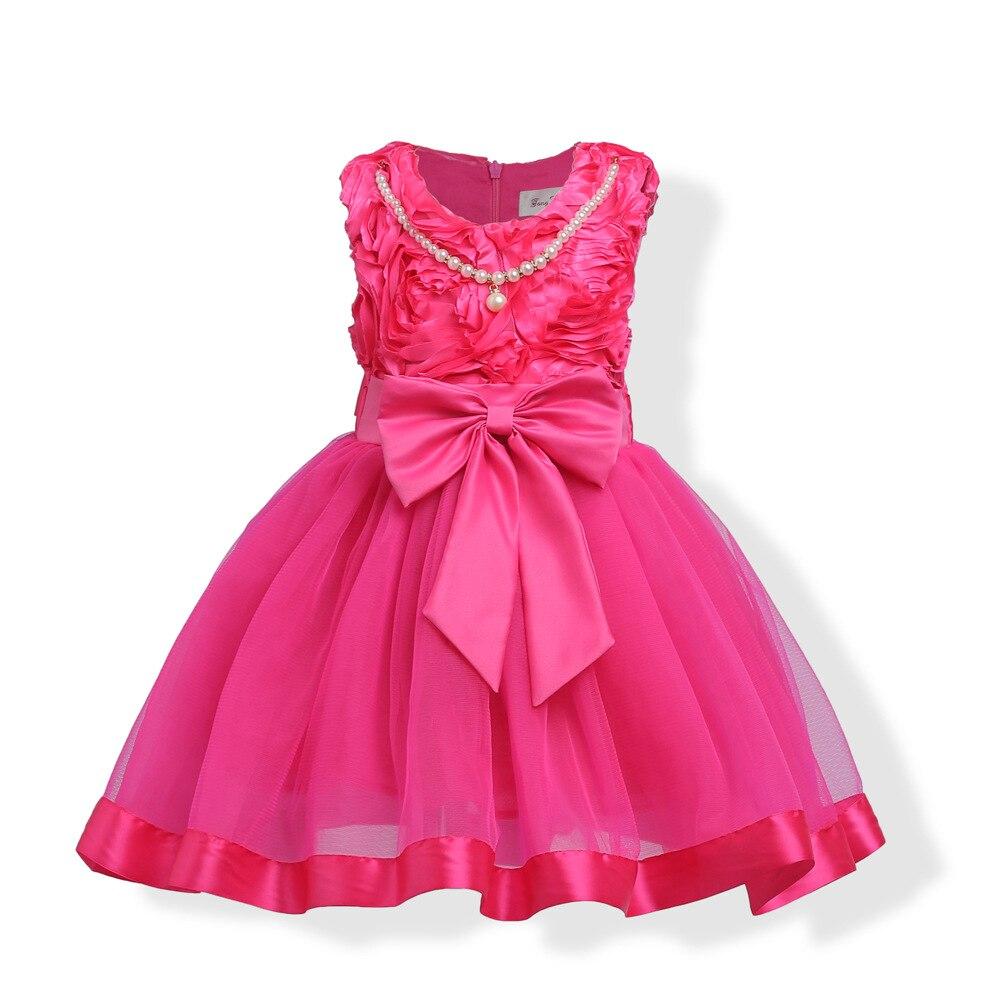 Kids Girl Rose Flower Dress Children Elegant Dress Pageant Vestido Infantil Tulle Formal Party Dress for 3-8Y Girls вечернее платье mermaid dress vestido noiva 2015 w006 elie saab evening dress