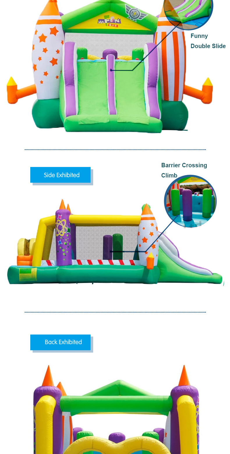 HTB1mBvyPFXXXXa1XVXXq6xXFXXXw - Mr. Fun Large Inflatable Rocket Trampoline Bounce House Castle For Kids with Double Slide Multi-function Playgound with Blower