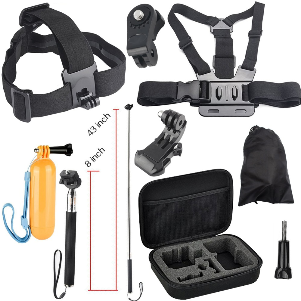 Carrying bag Selfie Stick Head Chest Mount Accessories Kit for Sony Mini Cam Action Camera HDR AS20 AS30V AS15V AS200V AS300