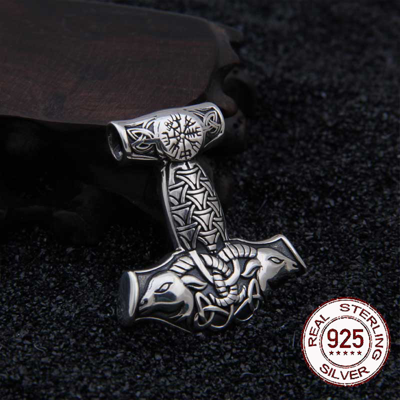 Real 925 Sterling Silver Viking Goat Viking Thor hammer Pendant Nekclace with really leather as gift 1pc unique personalized viking thor s hammer beads choker necklace with 5 viking rune beads diy available