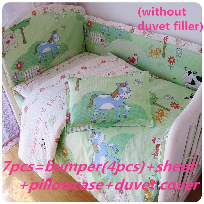 2017! 6/7PCS Cot bedding set Baby Bedding Set Cotton Crib Bedding Set Duvet Cover,120*60/120*70cm недорого