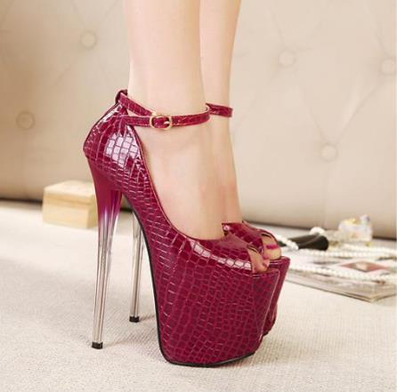 19 cm Super Haute Talon Femmes Gladiateur Chaussures Peep Toe Cristal talons  Pompes Pour Femmes Cheville Sangle Sexy Partie Banquet Pompes de mariage 8ec036a590f6