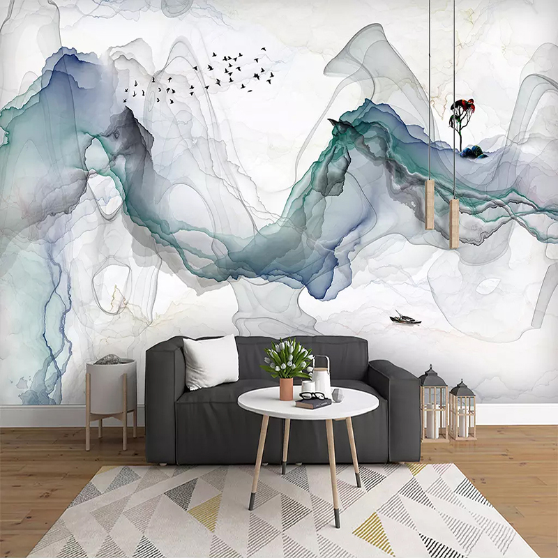 Custom Photo Wallpaper Mural Papel De Parede 3D Abstract Ink Mountain Water Landscape Art Wall Painting Living Room Decoration