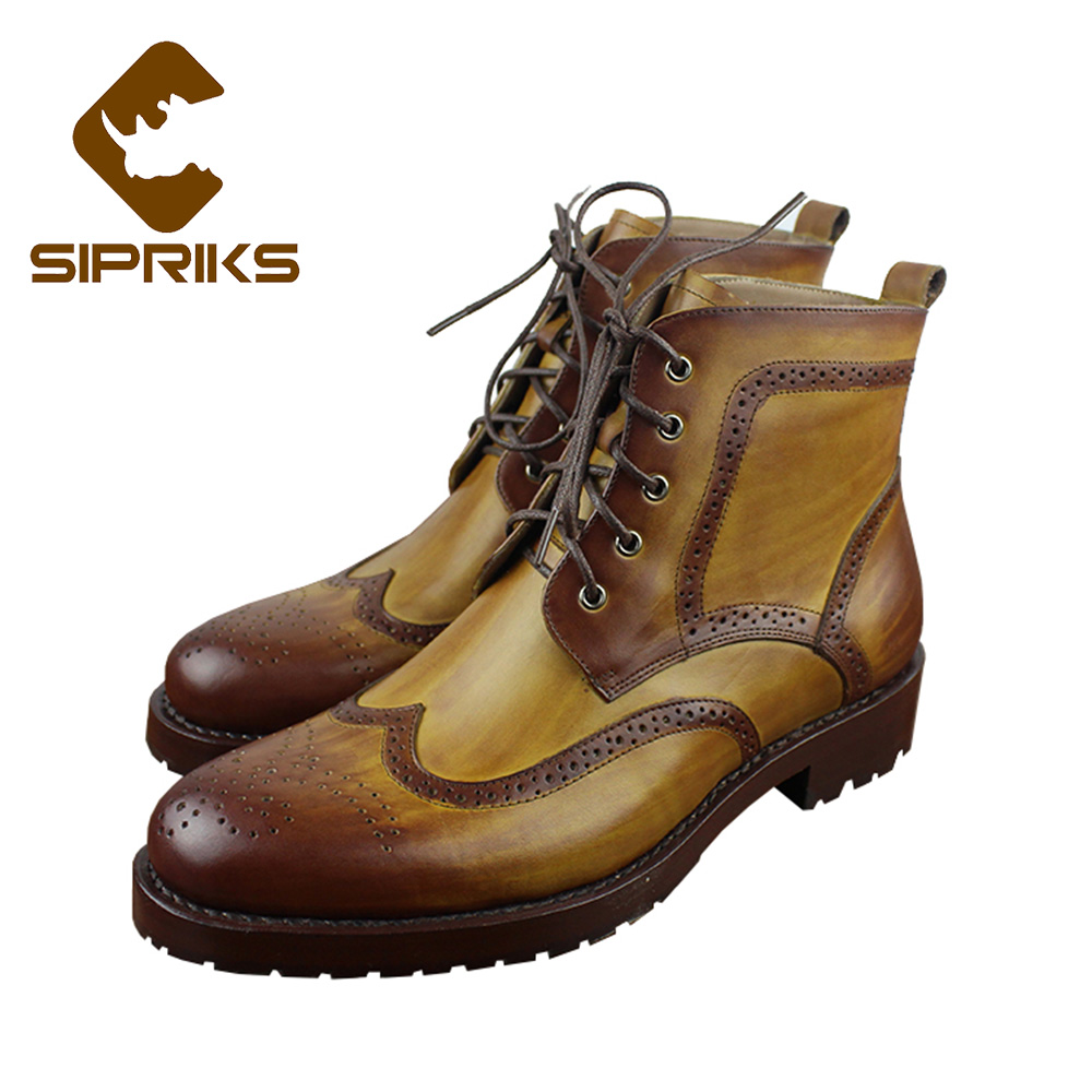 Sipriks full brogue boots genuine leather gold dress boots italian custom  Goodyear welted shoes classic mens 4fd7ec30c20b