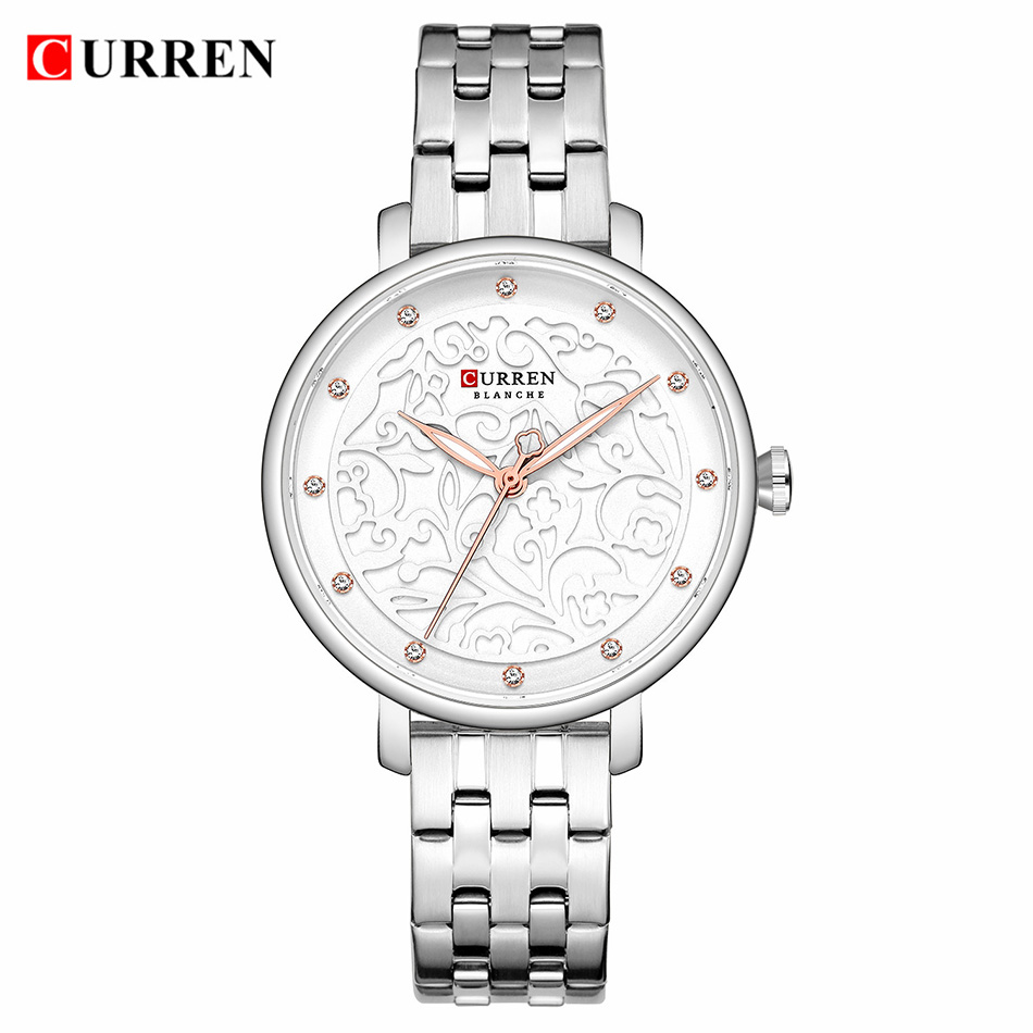 CURREN Elegant Women Watch Silver Stainless Steel Womens Sports Watch Ladies Top Luxury Brand Women's Wrist Watches Ultra Thin(China)