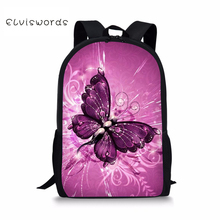 ELVISWORDS School Backpack for Teenager Girls Boys Pretty Butterfly Printed Primary Kids Adorable Bags Casual Travel 2019 new