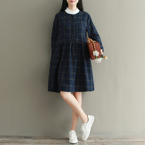 2018 New Fashion Prairie Style Spring Women Dress Temperament Cotton Stand Collar Long Sleeve High Waist Plaid In Dresses From S Clothing