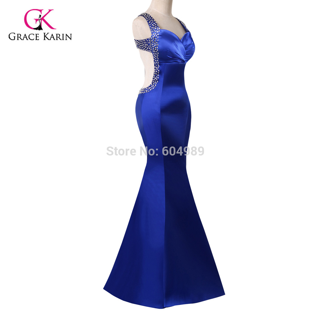Real photo blau abendkleid grace karin backless pailletten satin ...