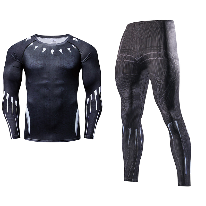 Superhero Avenger Mens Two Piece Sets Tracksuit Long Sleeve Crossfit T shirt Fitness Legging Outfit Compression