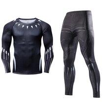 Супергерой Мститель мужские комплекты из двух предметов спортивный костюм с длинным рукавом Кроссфит футболка Фитнес Леггинсы наряд сжатия Косплэй костюмы