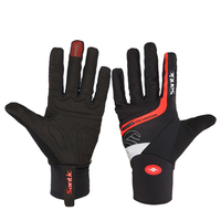 Santic Cycling Gloves Men Red Black Gel Warm Full Finger with Touch Function Shockproof GEL MTB Bicycle Gloves Guantes Ciclismo