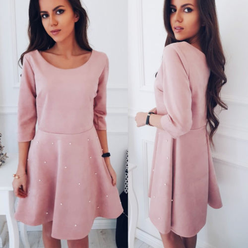 2018 New Pearl Embellished Party Dress  Women Pink 3/4 Sleeve Beading Skater Dresses Elegant Mini Dress VestidosPink