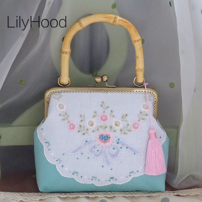 LilyHood Handcraft Fabric Shoulder Bag Female Floral Embroidery Vintage Victorian Style Lace China Candy Top-Handle Bags