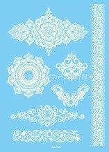 Waterproof Body Art Tattoo Sticker For Women Flowers White Bracelet Wedding Jewelry Lace Flower Flash Tattoo LS-625e