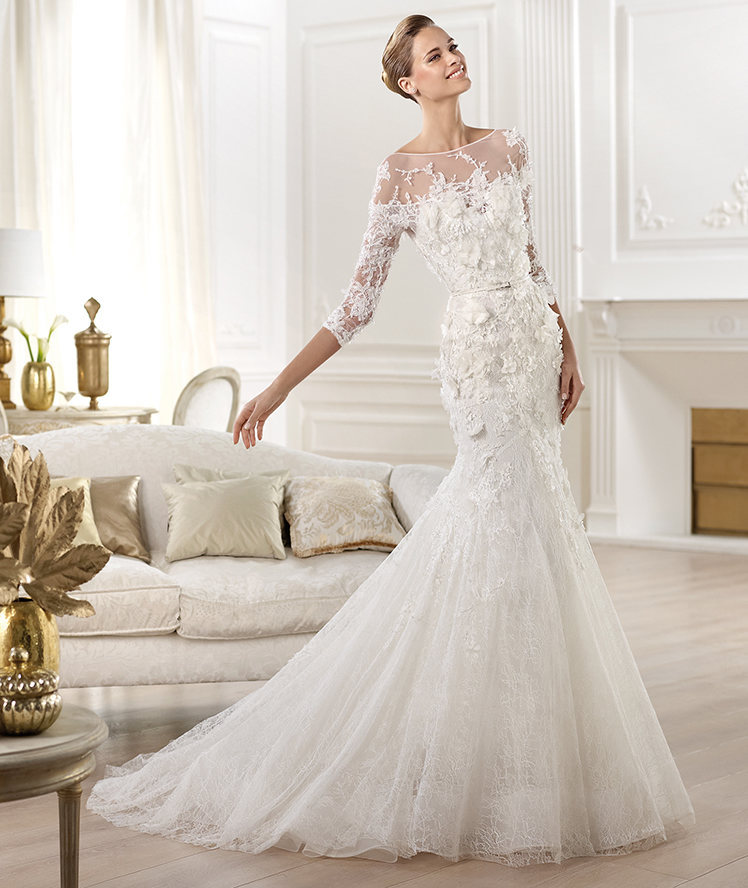 2014 elie saab new sheer bateau boat neck 3/4 sleeves wedding ...