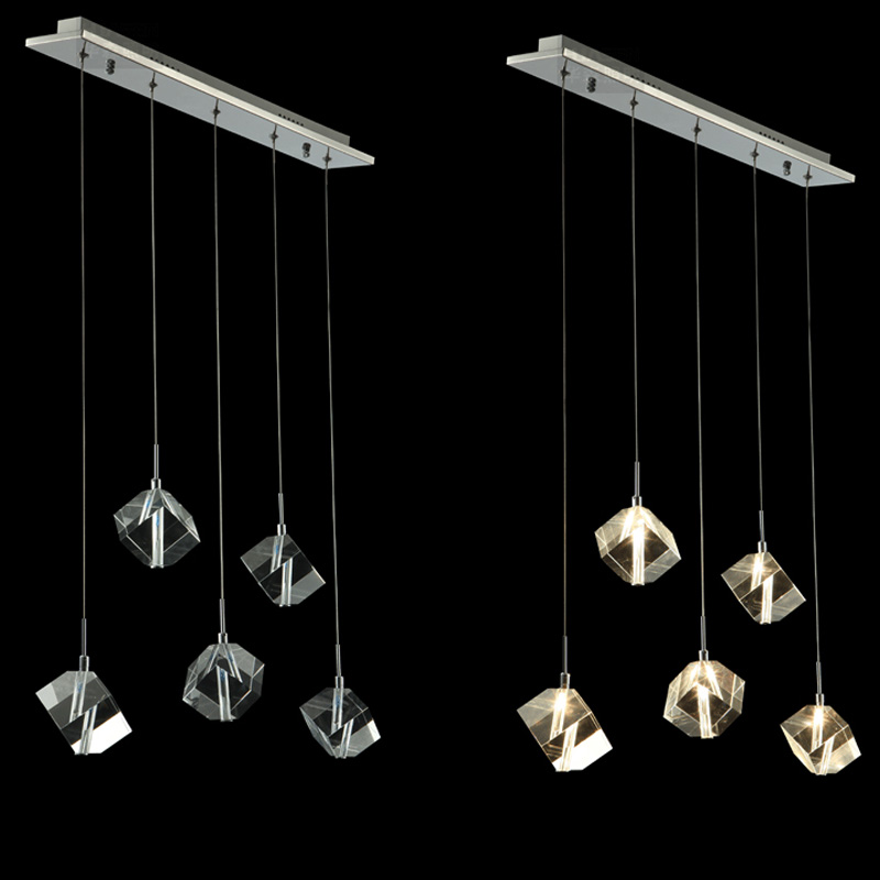 Modern Rectangle Top Dining Room Pendent lights Luxury Square Crystal Restaurant Hanging Lamp Bar Counter Pendant Fixtures
