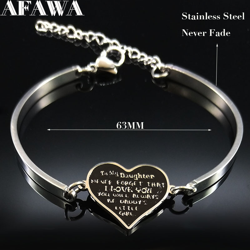 2019 Fashion Daughter Stainless Steel Cuff Bracelets for Women Silver Color Bangle Bracelet Jewelry bijoux femme B18334 in Bangles from Jewelry Accessories